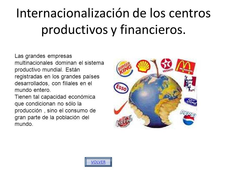 Internacionalización de los centros productivos y financieros.