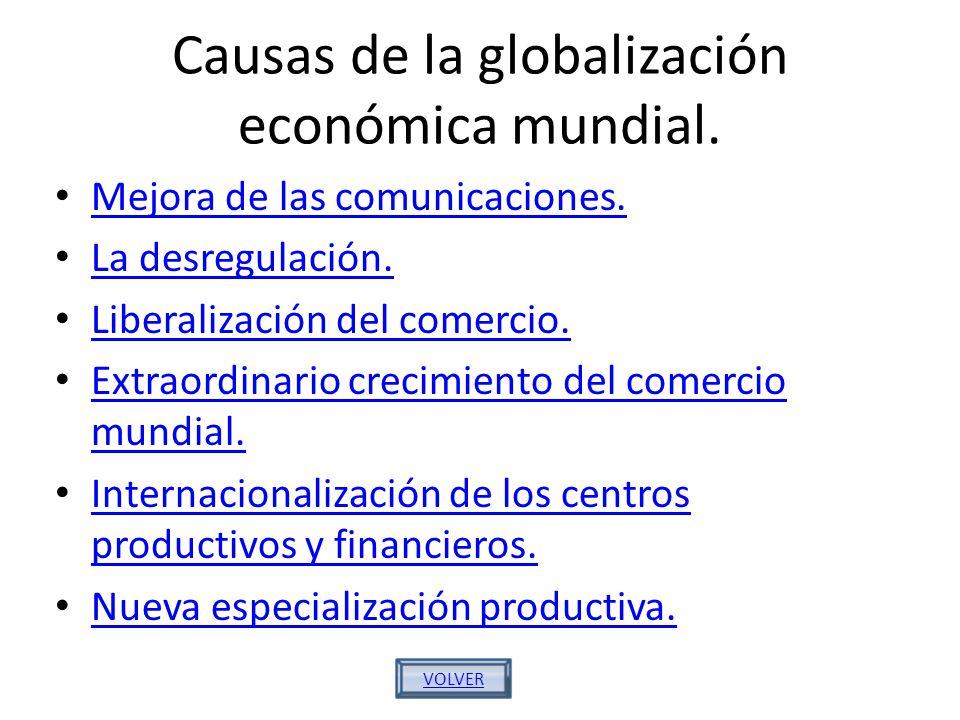 Causas de la globalización económica mundial.