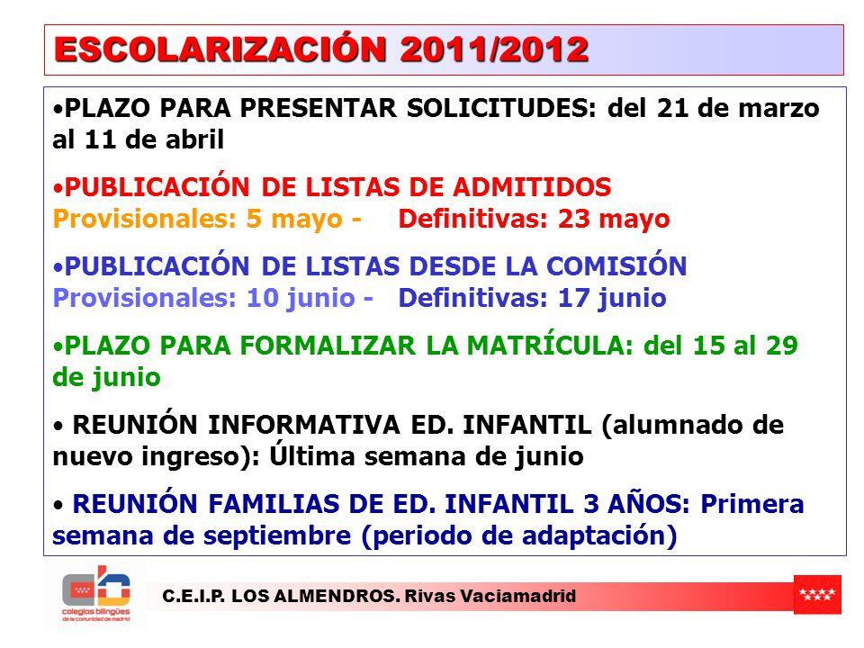 ESCOLARIZACIÓN 2011/2012 PLAZO PARA PRESENTAR SOLICITUDES: del 21 de marzo al 11 de abril.