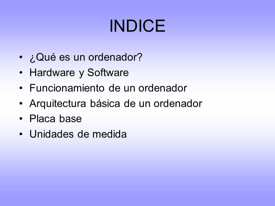 INDICE ¿Qué es un ordenador Hardware y Software