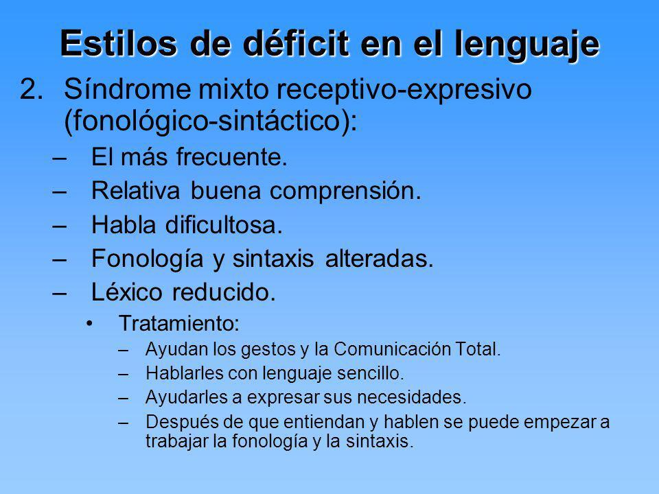 Estilos de déficit en el lenguaje