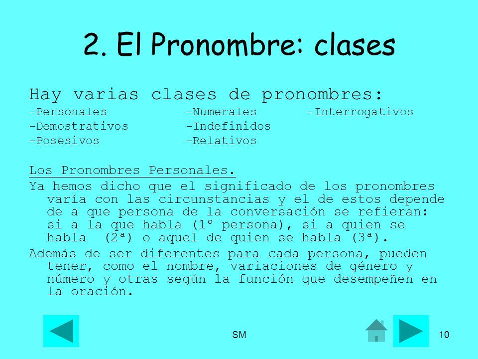 2. El Pronombre: clases Hay varias clases de pronombres: