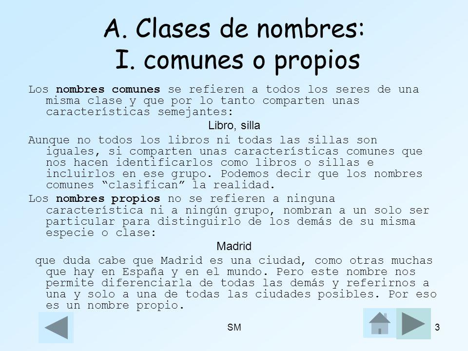 A. Clases de nombres: I. comunes o propios
