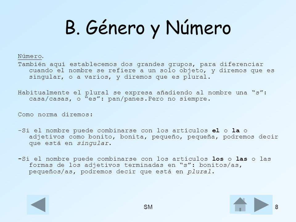 B. Género y Número Número.