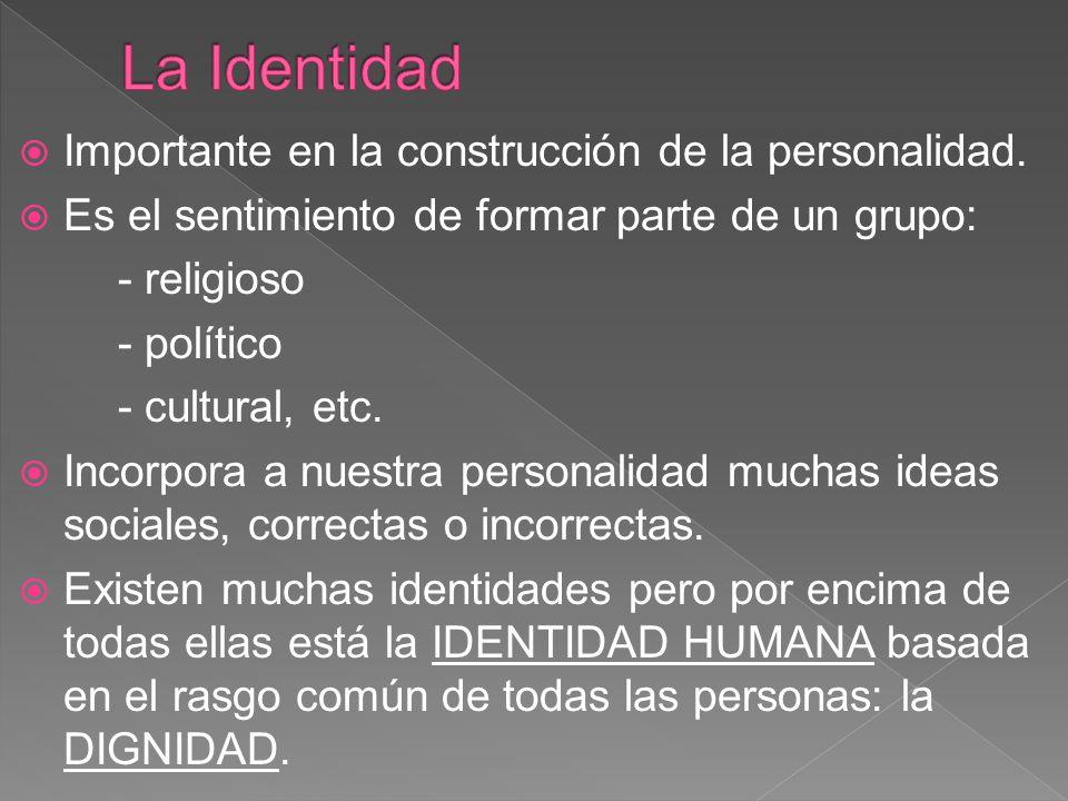 La Identidad Importante en la construcción de la personalidad.