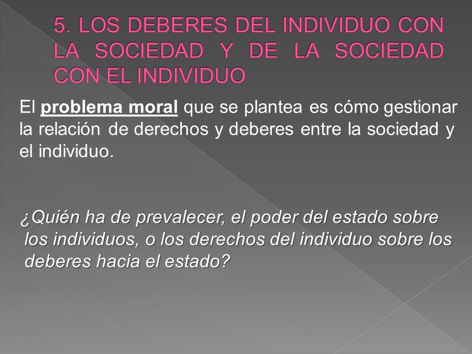 5. LOS DEBERES DEL INDIVIDUO CON LA SOCIEDAD Y DE LA SOCIEDAD CON EL INDIVIDUO