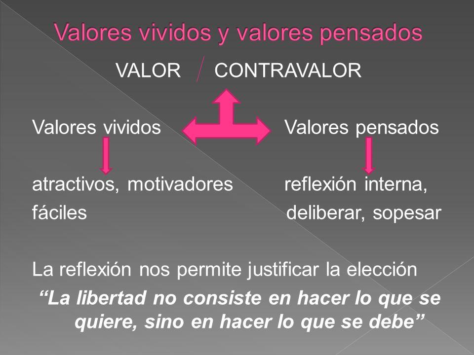 Valores vividos y valores pensados