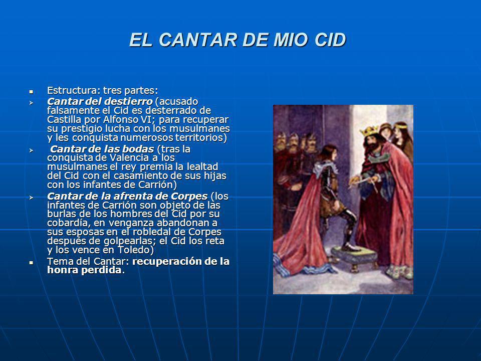 EL CANTAR DE MIO CID Estructura: tres partes: