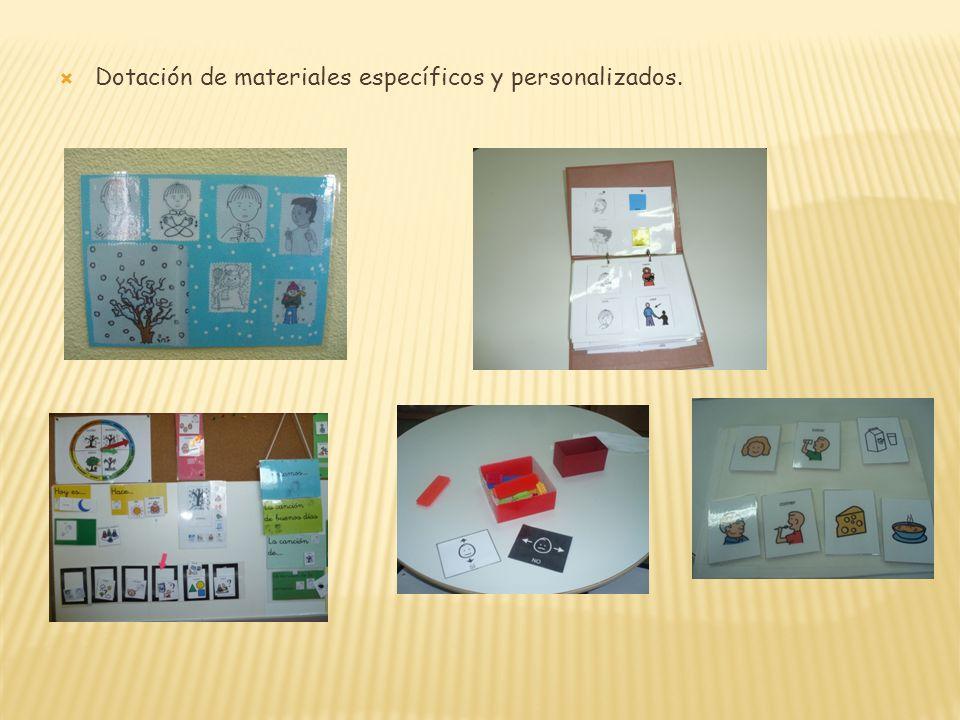 Dotación de materiales específicos y personalizados.