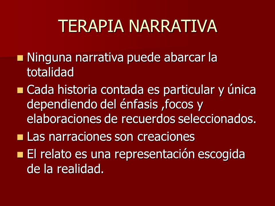 TERAPIA NARRATIVA Ninguna narrativa puede abarcar la totalidad