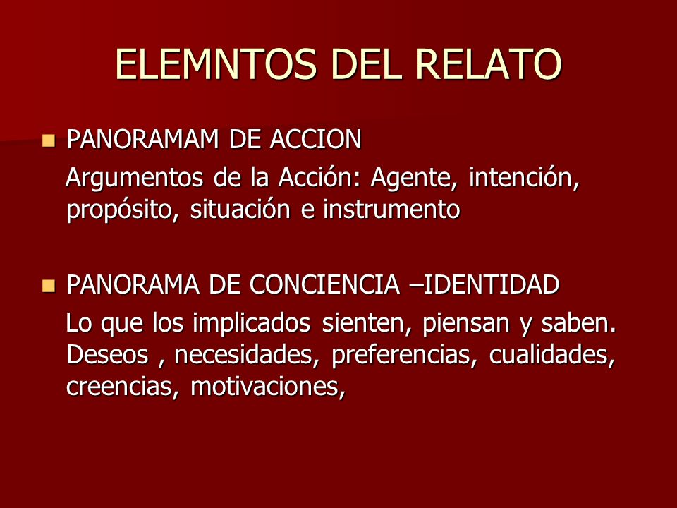ELEMNTOS DEL RELATO PANORAMAM DE ACCION
