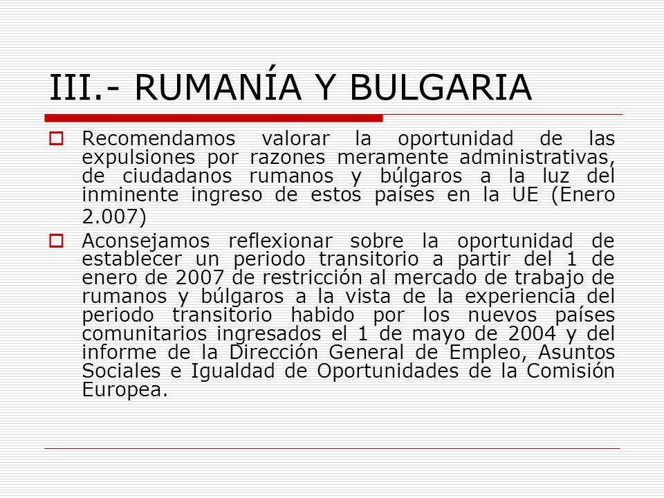 III.- RUMANÍA Y BULGARIA