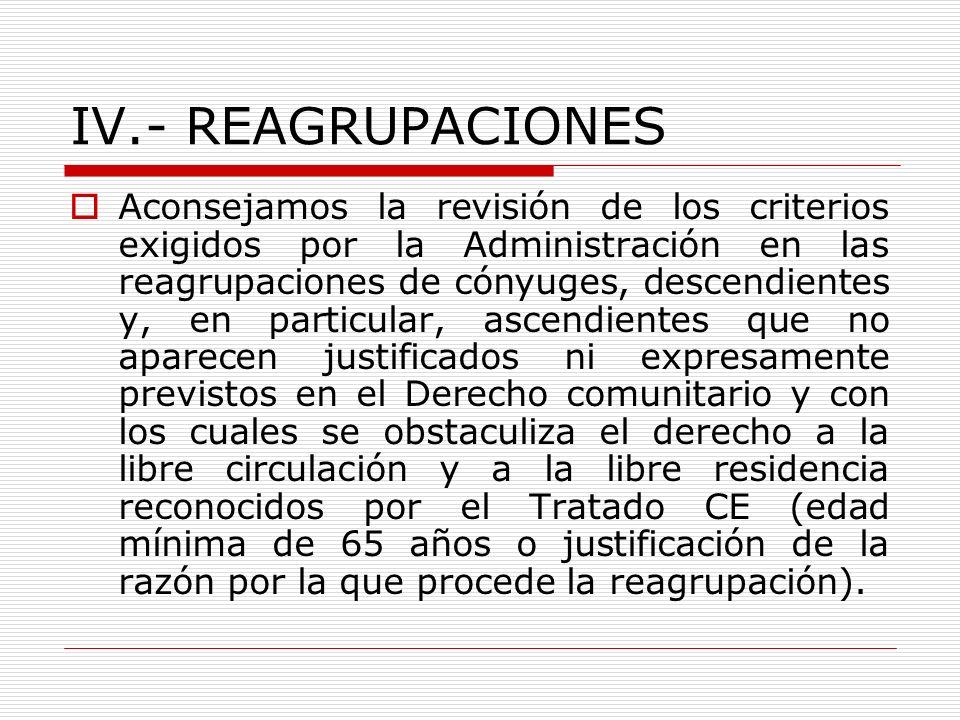 IV.- REAGRUPACIONES