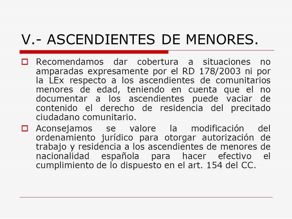 V.- ASCENDIENTES DE MENORES.