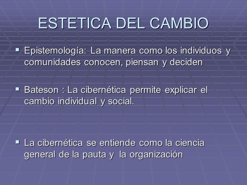 ESTETICA DEL CAMBIO Epistemología: La manera como los individuos y comunidades conocen, piensan y deciden.