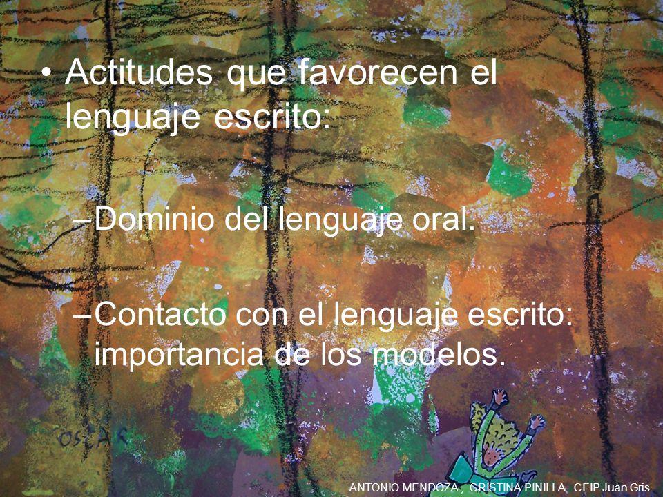 Actitudes que favorecen el lenguaje escrito: