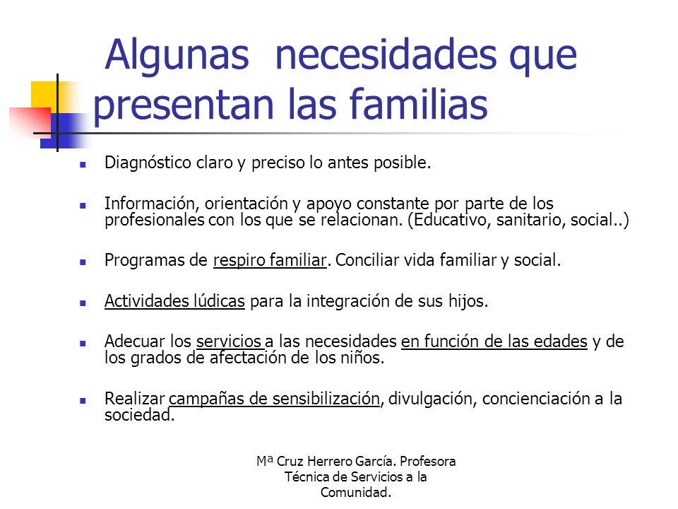 Algunas necesidades que presentan las familias
