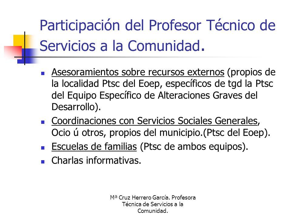Participación del Profesor Técnico de Servicios a la Comunidad.
