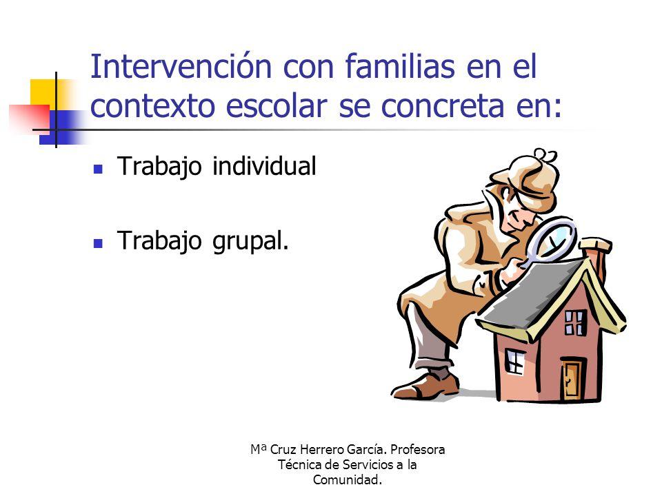 Intervención con familias en el contexto escolar se concreta en: