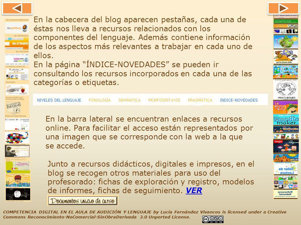 En la cabecera del blog aparecen pestañas, cada una de éstas nos lleva a recursos relacionados con los componentes del lenguaje. Además contiene información de los aspectos más relevantes a trabajar en cada uno de ellos.