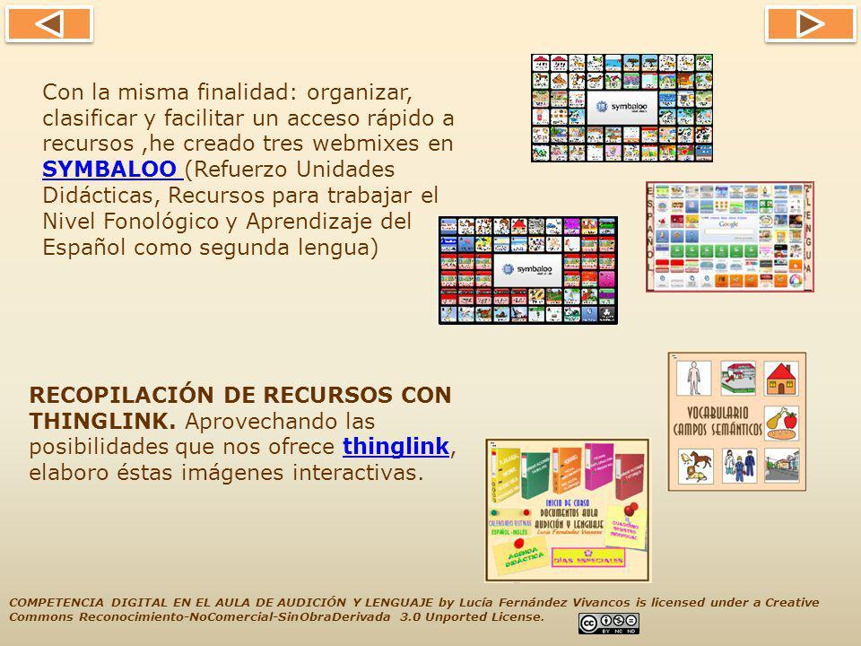 Con la misma finalidad: organizar, clasificar y facilitar un acceso rápido a recursos ,he creado tres webmixes en SYMBALOO (Refuerzo Unidades Didácticas, Recursos para trabajar el Nivel Fonológico y Aprendizaje del Español como segunda lengua)