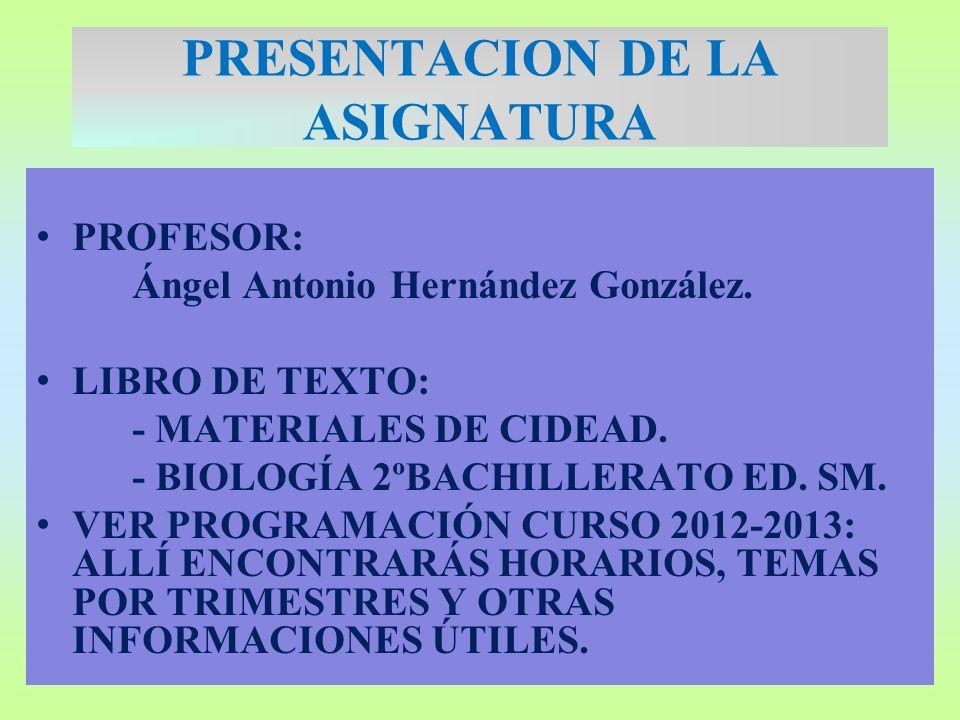 PRESENTACION DE LA ASIGNATURA