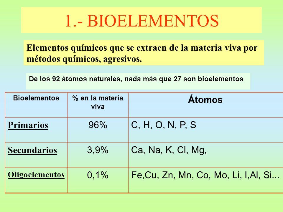1.- BIOELEMENTOS Elementos químicos que se extraen de la materia viva por métodos químicos, agresivos.