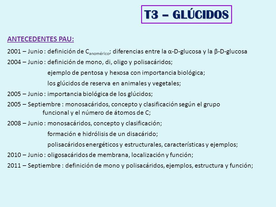 T3 – GLÚCIDOS ANTECEDENTES PAU: