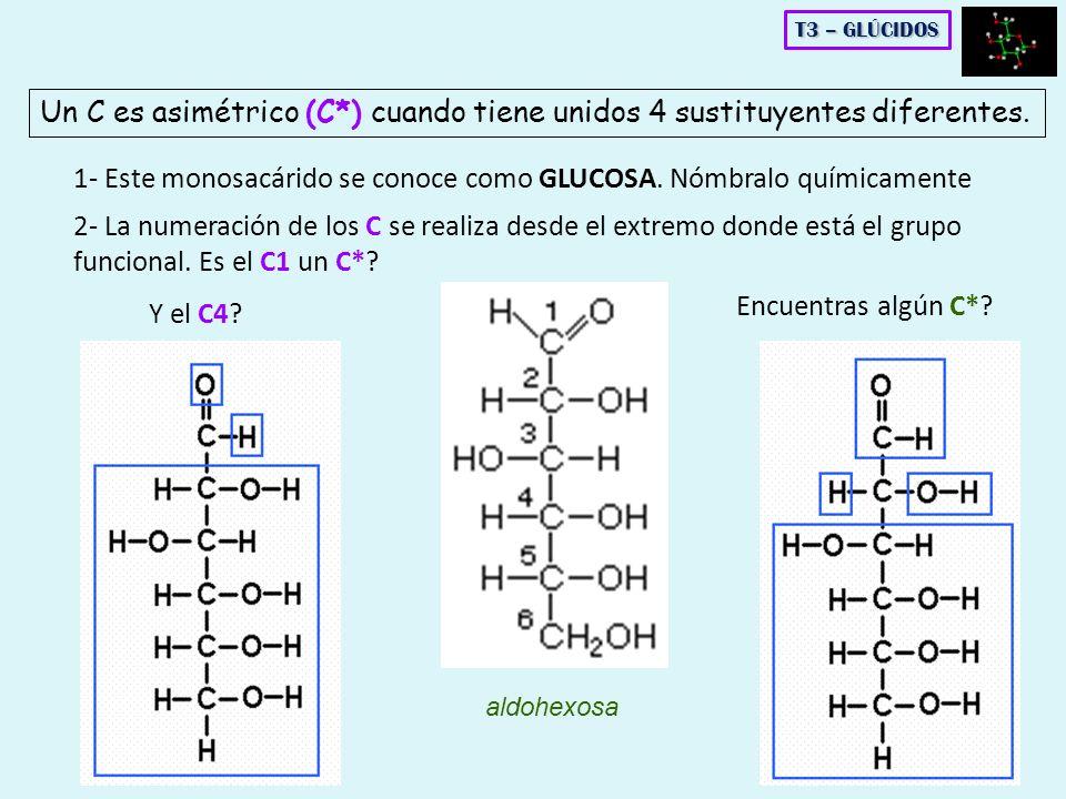 1- Este monosacárido se conoce como GLUCOSA. Nómbralo químicamente