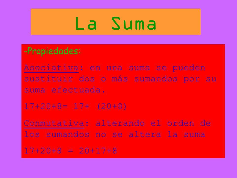 La Suma -Propiedades: Asociativa: en una suma se pueden sustituir dos o más sumandos por su suma efectuada.