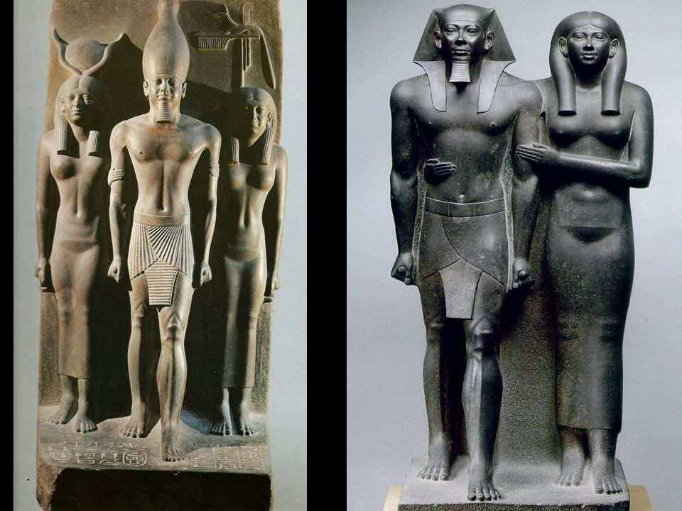 Tríada de Mikerinos. Diosa Hathor y diosa del perro negro. IV dinastía