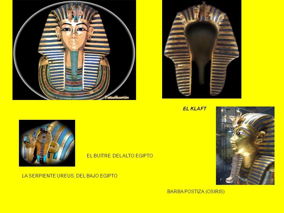 EL KLAFT EL BUITRE DEL ALTO EGIPTO LA SERPIENTE UREUS, DEL BAJO EGIPTO BARBA POSTIZA (OSIRIS)