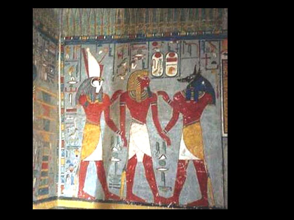 Ramses I entre Horus y Anubis. Imperio Nuevo XIX dinastía