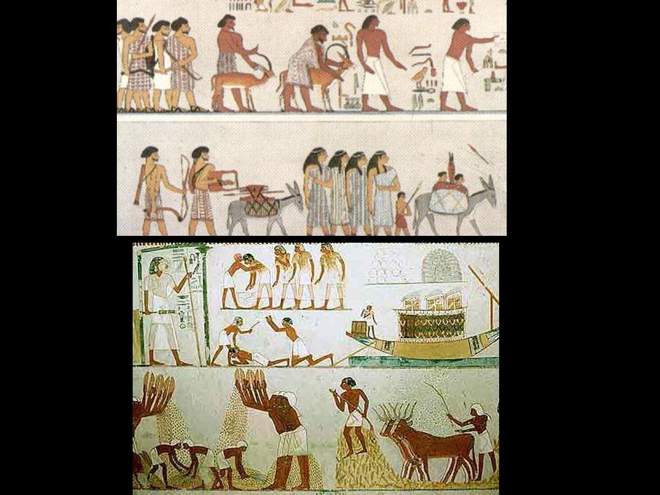 Tribu semítica con sus pertenencias. Mural de una tumba de Bani Hasan