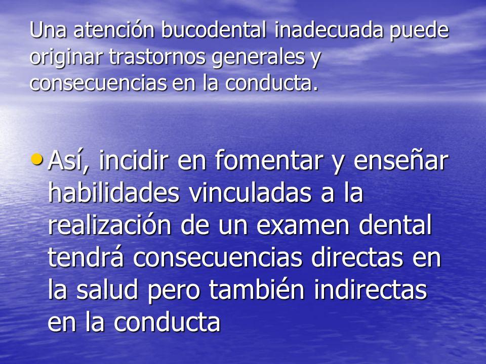 Una atención bucodental inadecuada puede originar trastornos generales y consecuencias en la conducta.
