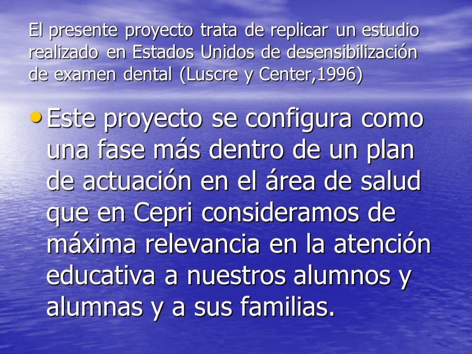 El presente proyecto trata de replicar un estudio realizado en Estados Unidos de desensibilización de examen dental (Luscre y Center,1996)