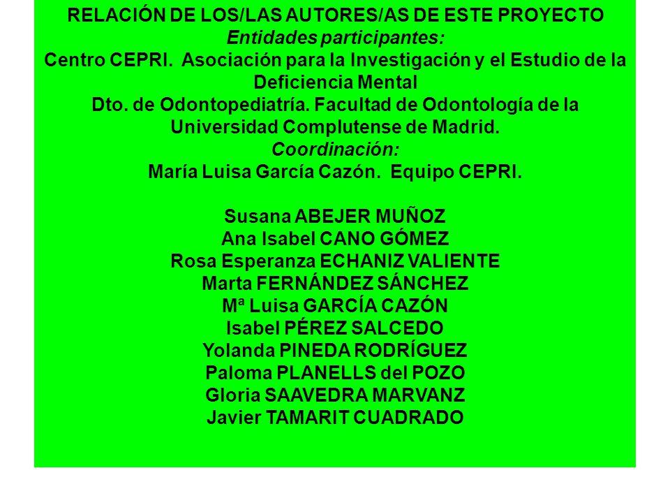 RELACIÓN DE LOS/LAS AUTORES/AS DE ESTE PROYECTO