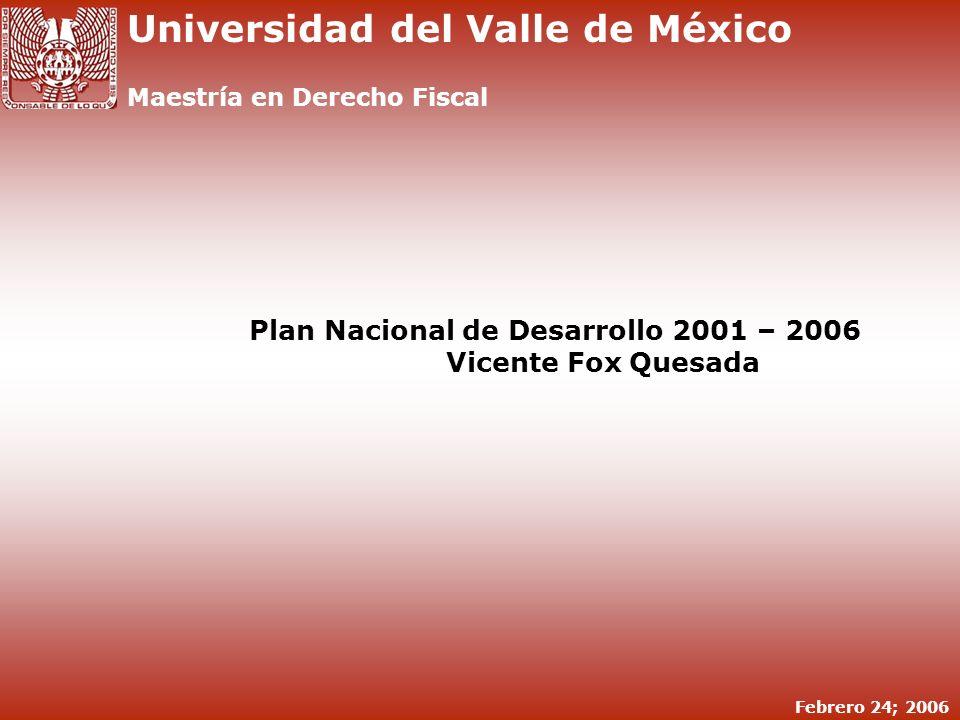 Plan Nacional de Desarrollo 2001 – 2006