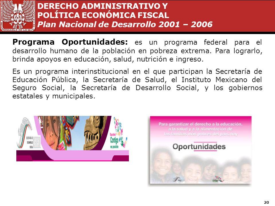 Programa Oportunidades: es un programa federal para el desarrollo humano de la población en pobreza extrema. Para lograrlo, brinda apoyos en educación, salud, nutrición e ingreso.