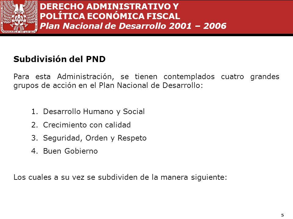 Subdivisión del PND Para esta Administración, se tienen contemplados cuatro grandes grupos de acción en el Plan Nacional de Desarrollo:
