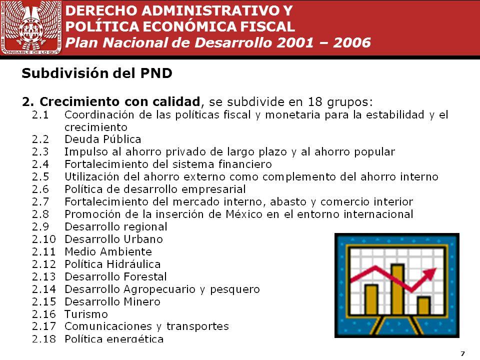 Subdivisión del PND Crecimiento con calidad, se subdivide en 18 grupos: