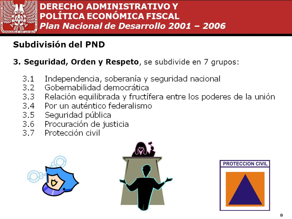 Subdivisión del PND Seguridad, Orden y Respeto, se subdivide en 7 grupos: