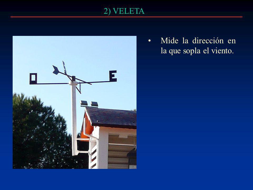 2) VELETA Mide la dirección en la que sopla el viento.