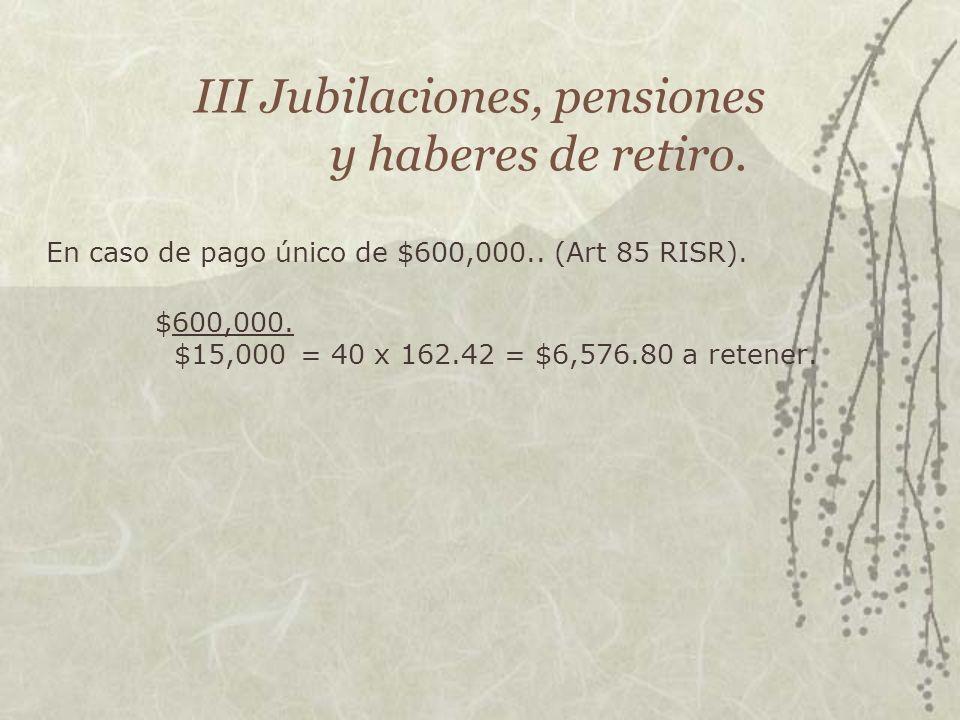III Jubilaciones, pensiones y haberes de retiro.