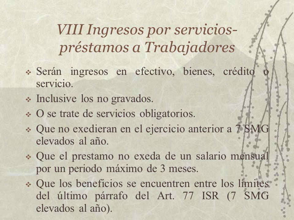 VIII Ingresos por servicios- préstamos a Trabajadores