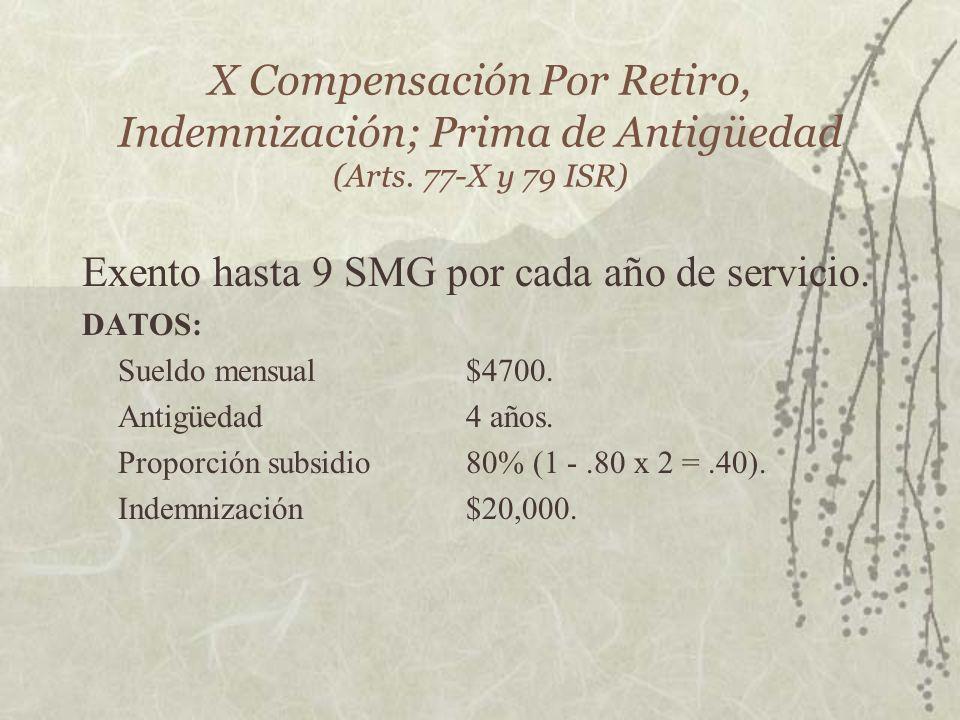 Exento hasta 9 SMG por cada año de servicio.