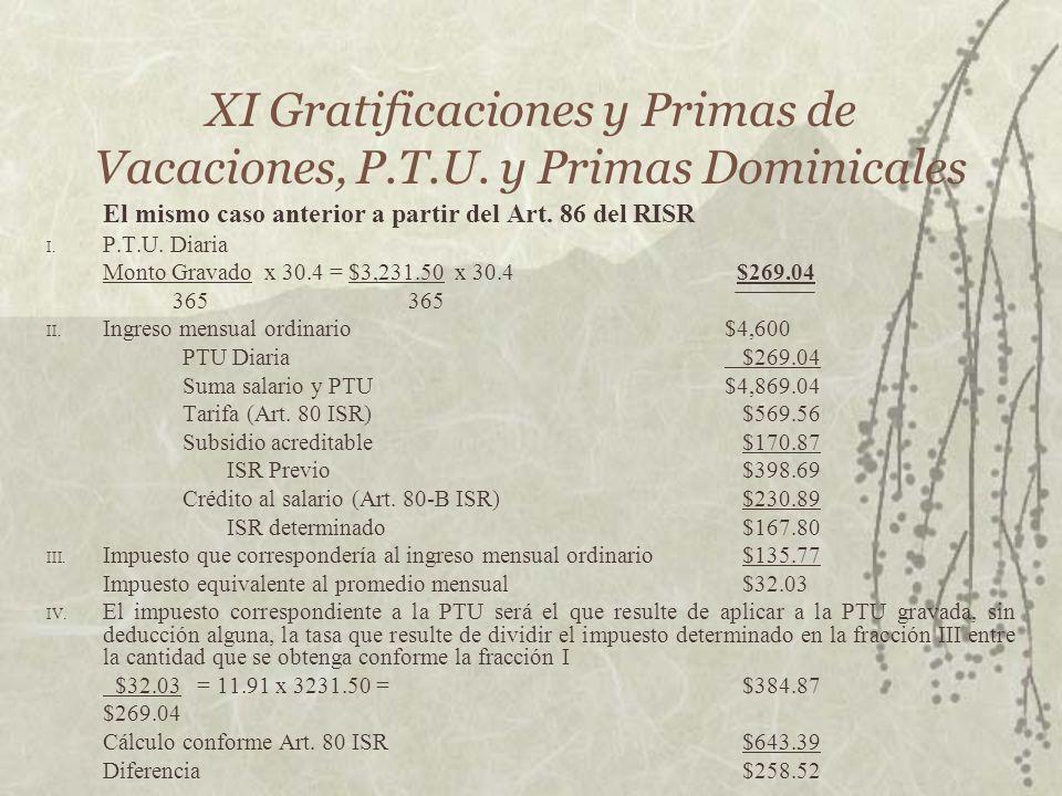 XI Gratificaciones y Primas de Vacaciones, P.T.U. y Primas Dominicales