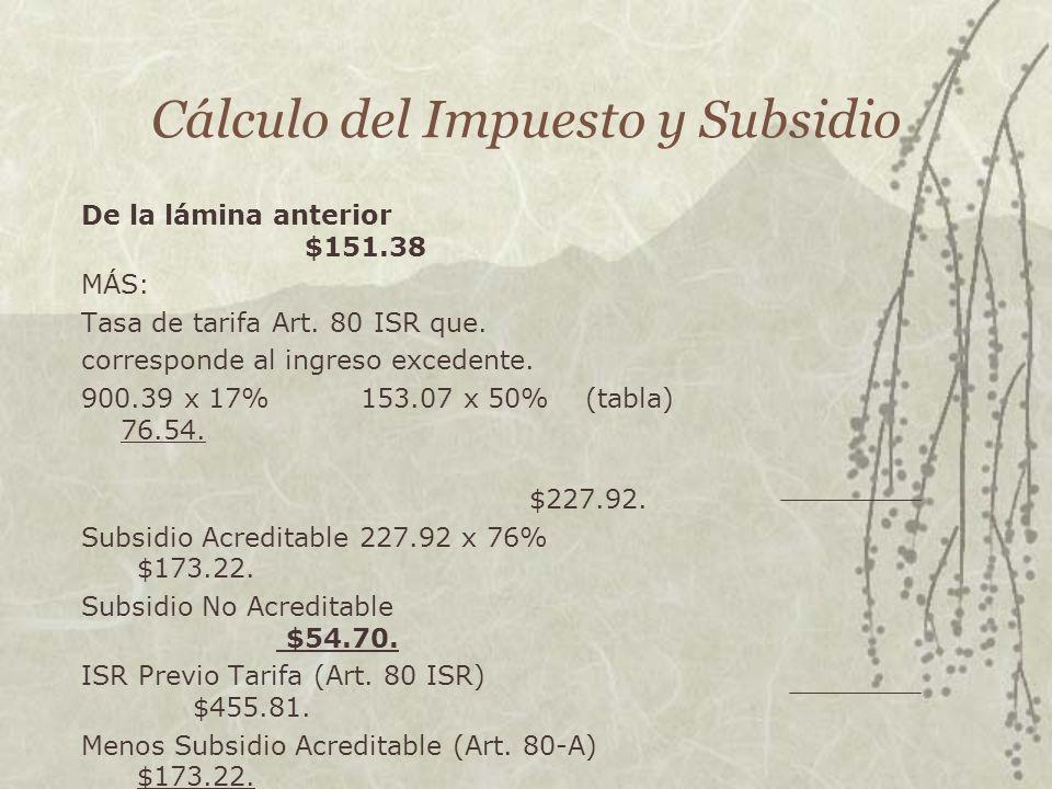 Cálculo del Impuesto y Subsidio