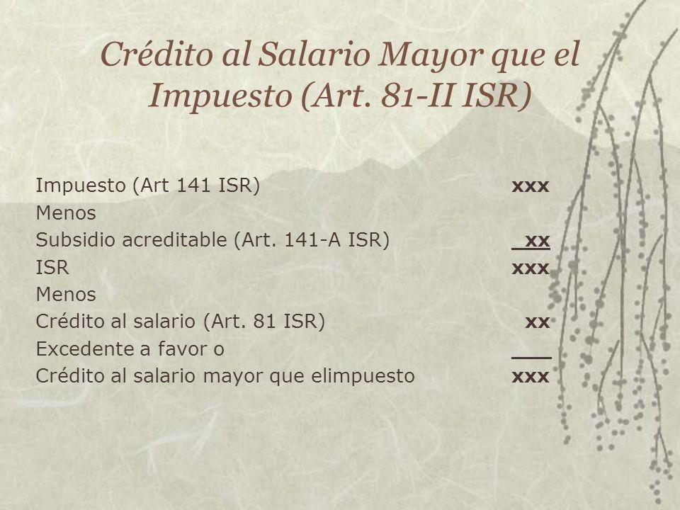 Crédito al Salario Mayor que el Impuesto (Art. 81-II ISR)