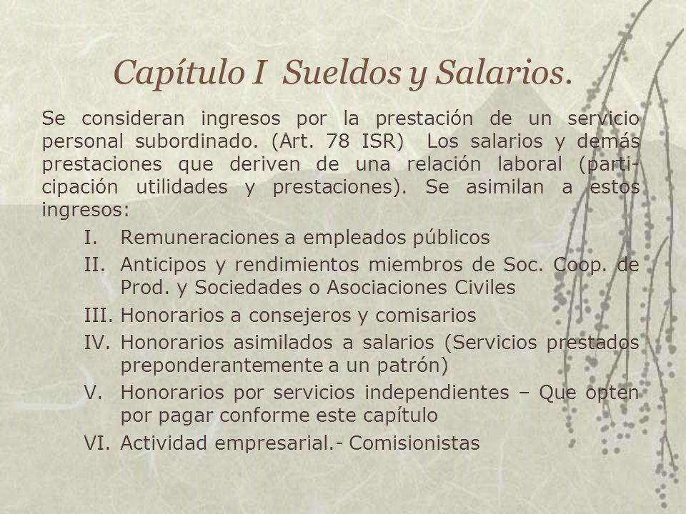 Capítulo I Sueldos y Salarios.